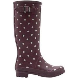 NWT Joules Tall Rain Maroon Polka Dot Welly Boot
